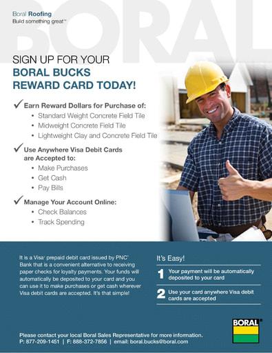 Boral Bucks Reward Card