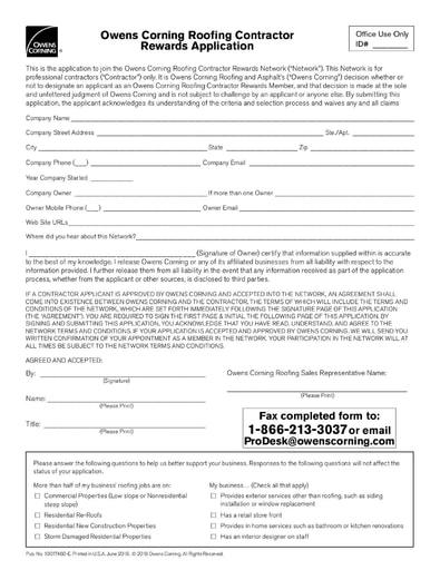 Owens Corning Contractor Rewards Application