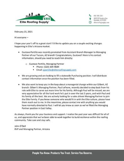Arizona Updates from John O'Dell - February 2021