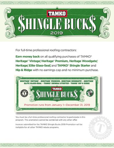 2019 TAMKO Shingle Bucks