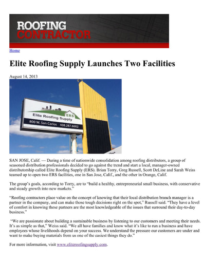 Roofing Contractor Article - August 2013