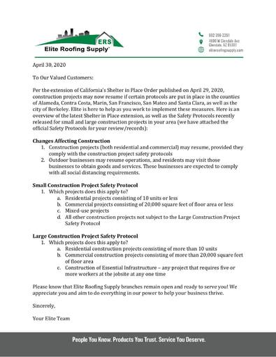 Regarding California's Shelter in Place Order - April 2020