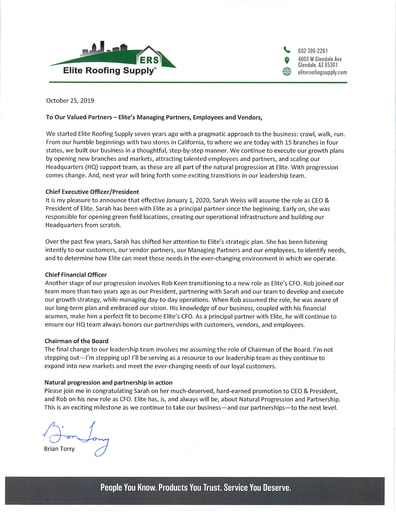 Brian Torry becomes COB - Sarah Weiss becomes CEO - Rob Keen becomes CFO - October 2019