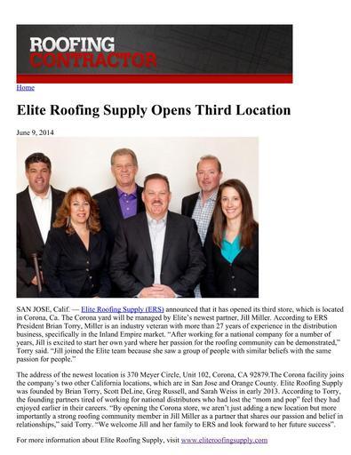 Roofing Contractor Article - June 2014